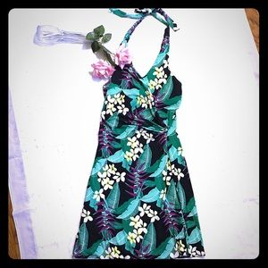 Tommy Bahama Faux Wrap Floral Halter Dress XS
